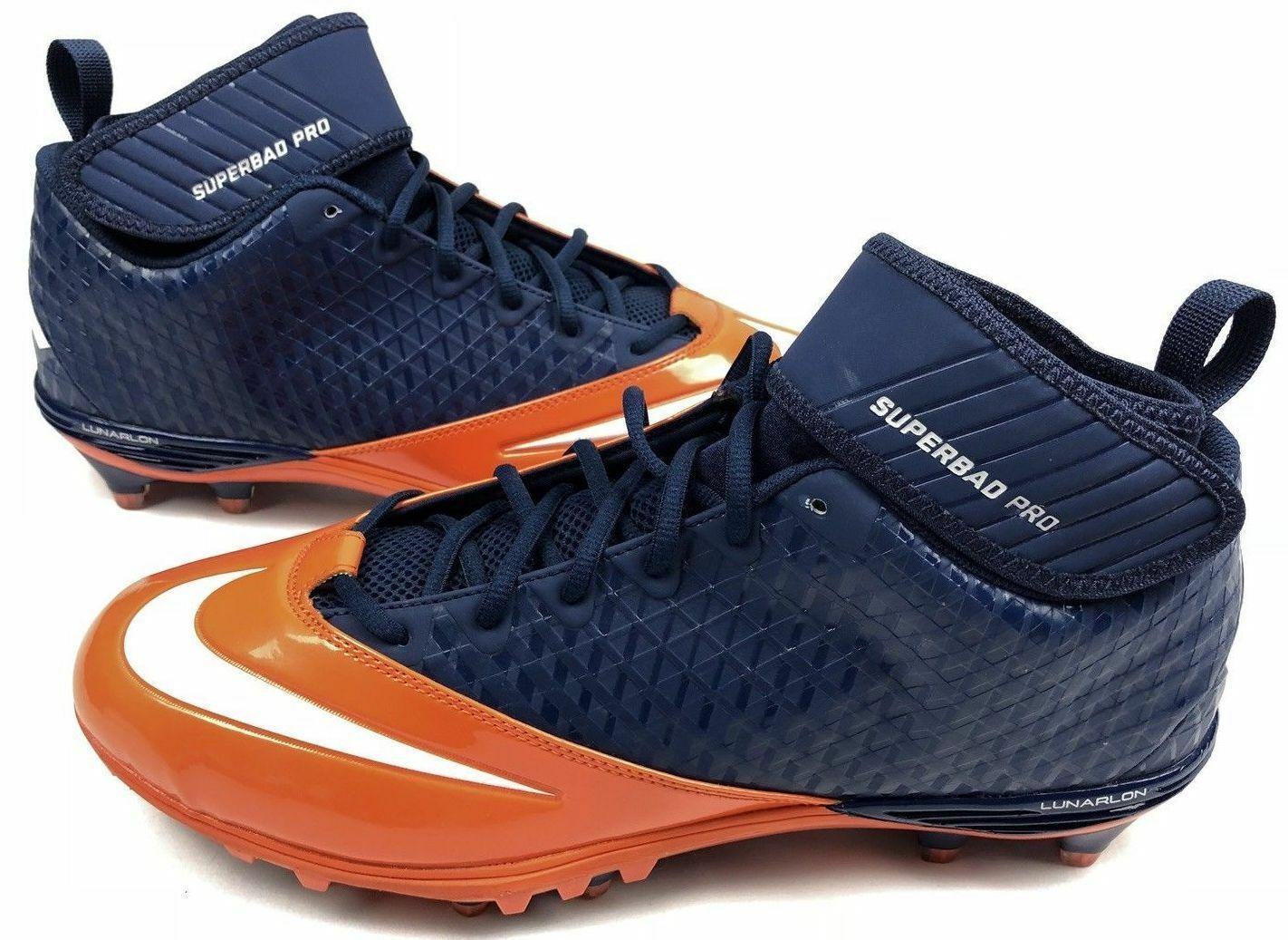 Nike Lunar Superbad Pro TD Mid Men's Football Cleats 534994, Orange/Blue, Sz 15 - $59.39