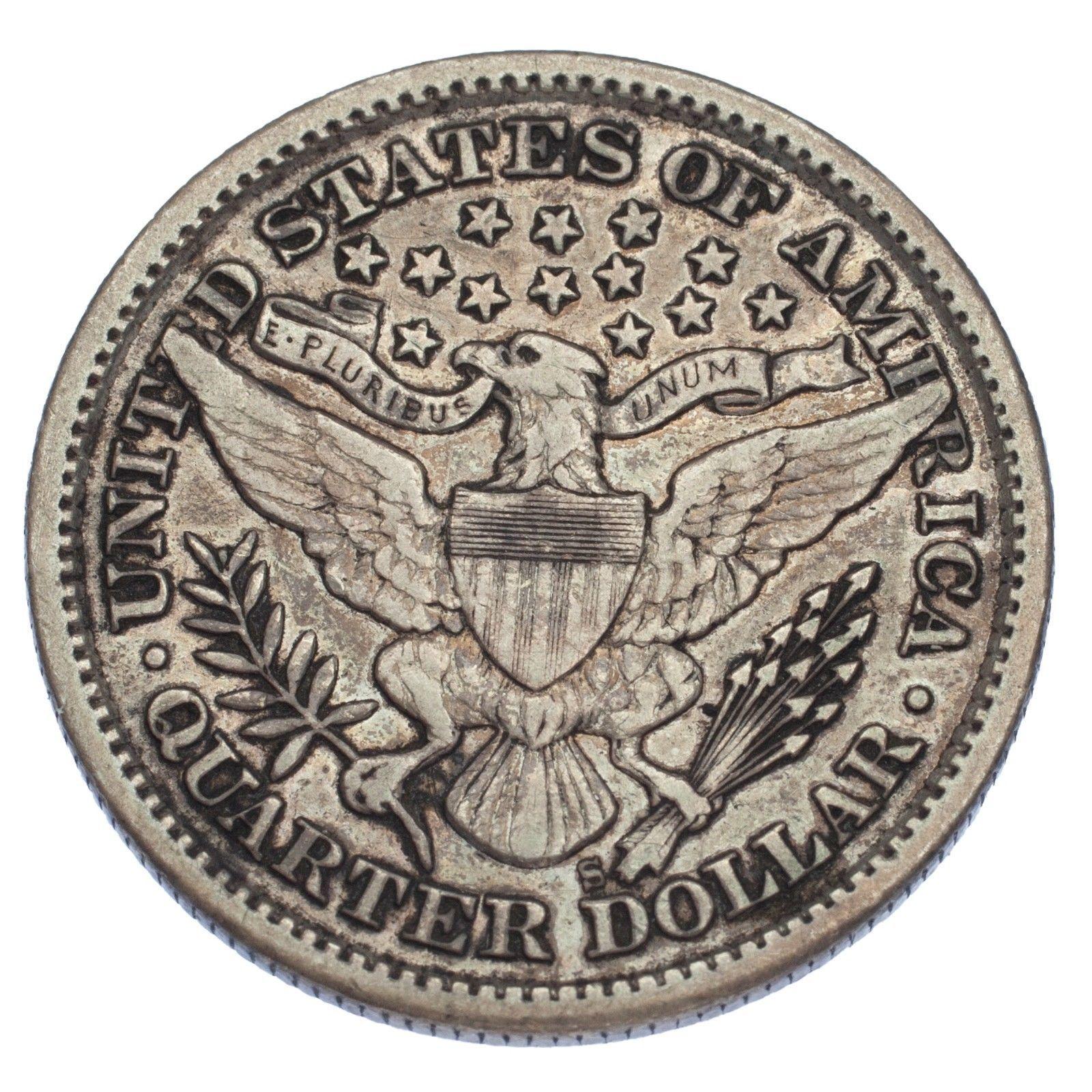 1897-S 25C Barber Quarter (Very Fine, VF Condition) image 3