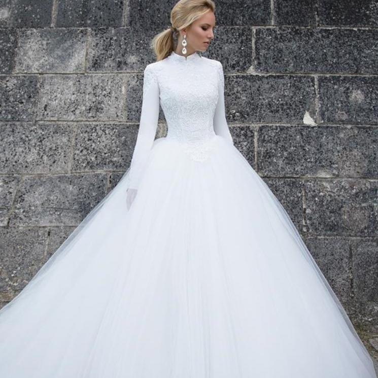 Gh neck long sleeve ball gown lace tulle bridal gowns floor 6d9d66b7 54b4 4ea3 82ec 45a919ea9512