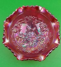 VINTAGE LE SMITH GLASS CO. RED RUFFLED IRREDESCENT CARNIVAL BOWL WINDMILL - $17.75