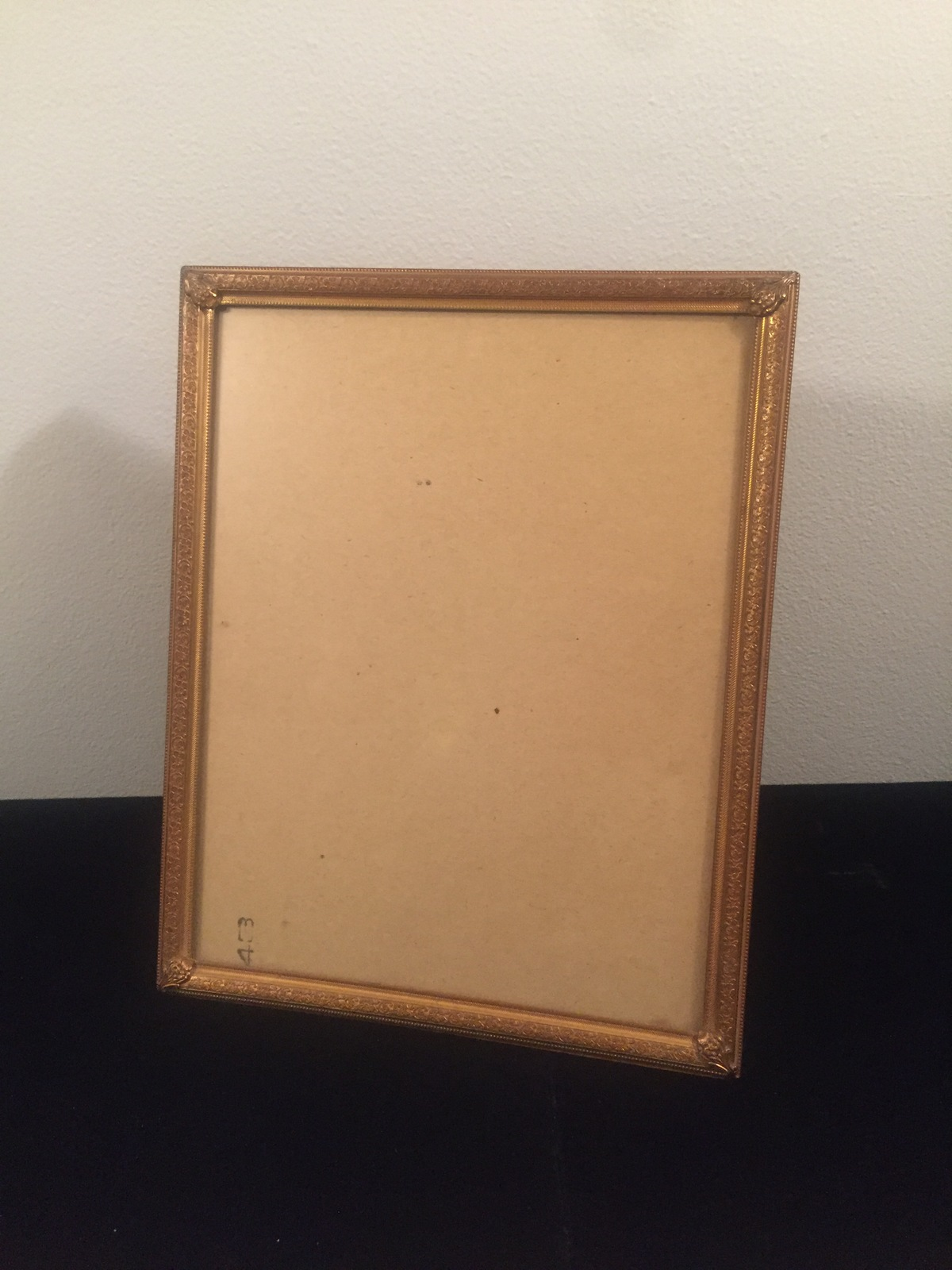 "Vintage 40s gold ornate 8"" x 10"" frame with easel back"