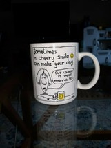 1986 HALLMARK SHOEBOX GREETINGS AHERN COFFEE MUG CHEERY SMILE MONEY OR SEX  - $17.10