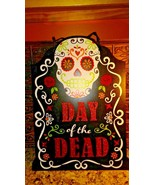"""""""Day of the Dead"""" Tombstone Sign -Wood with Glitter and Ribbon Hanger 16... - $7.91"""