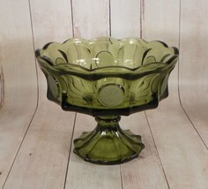 Large Fostoria COIN Glass Compote Dark Olive Green Fruit Bowl Footed Dish - $29.65