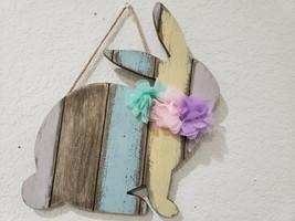 EASTER Spring 3D Floral Bunny Rabbit Wood Hanging Sign Home Decor - $17.99