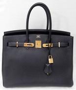 Hermes Birkin 35cm Midnight Ocean Blue Clemence GHW Bag - $16,598.00