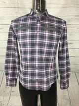 John Varvatos Men's Purple Plaid Button Up Shirt Size S Cotton Blend Zip... - $26.72