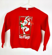 VTG Bugs Bunny Men's Red Christmas Six Flags Crew Neck Sweat Shirt Size L  - $79.20