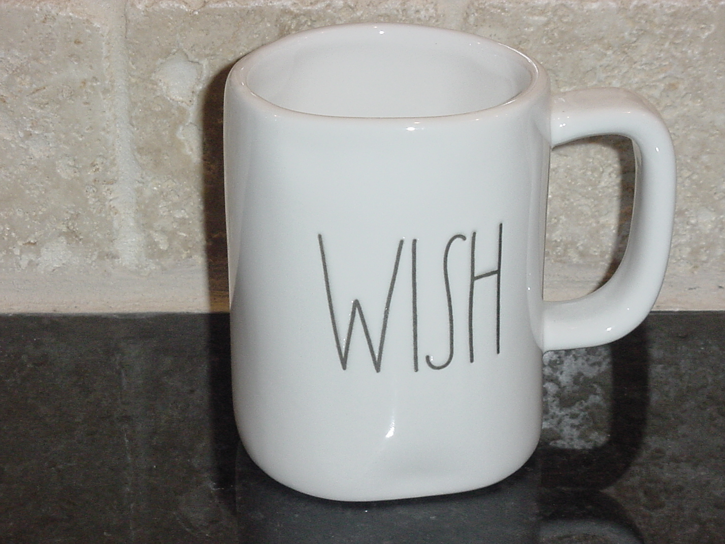 Rae Dunn WISH Mug, Ivory with Black Lettering