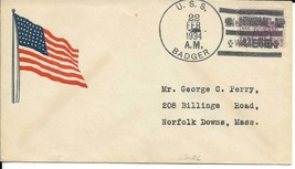 BADGER (DD-126) 22 Feb 1934 Locy Type 3(B-BBT) Flag Cachet - $3.47