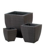 Tuscany Wicker Square Planters Dark Brown with Removable Black Liner Set... - $101.98