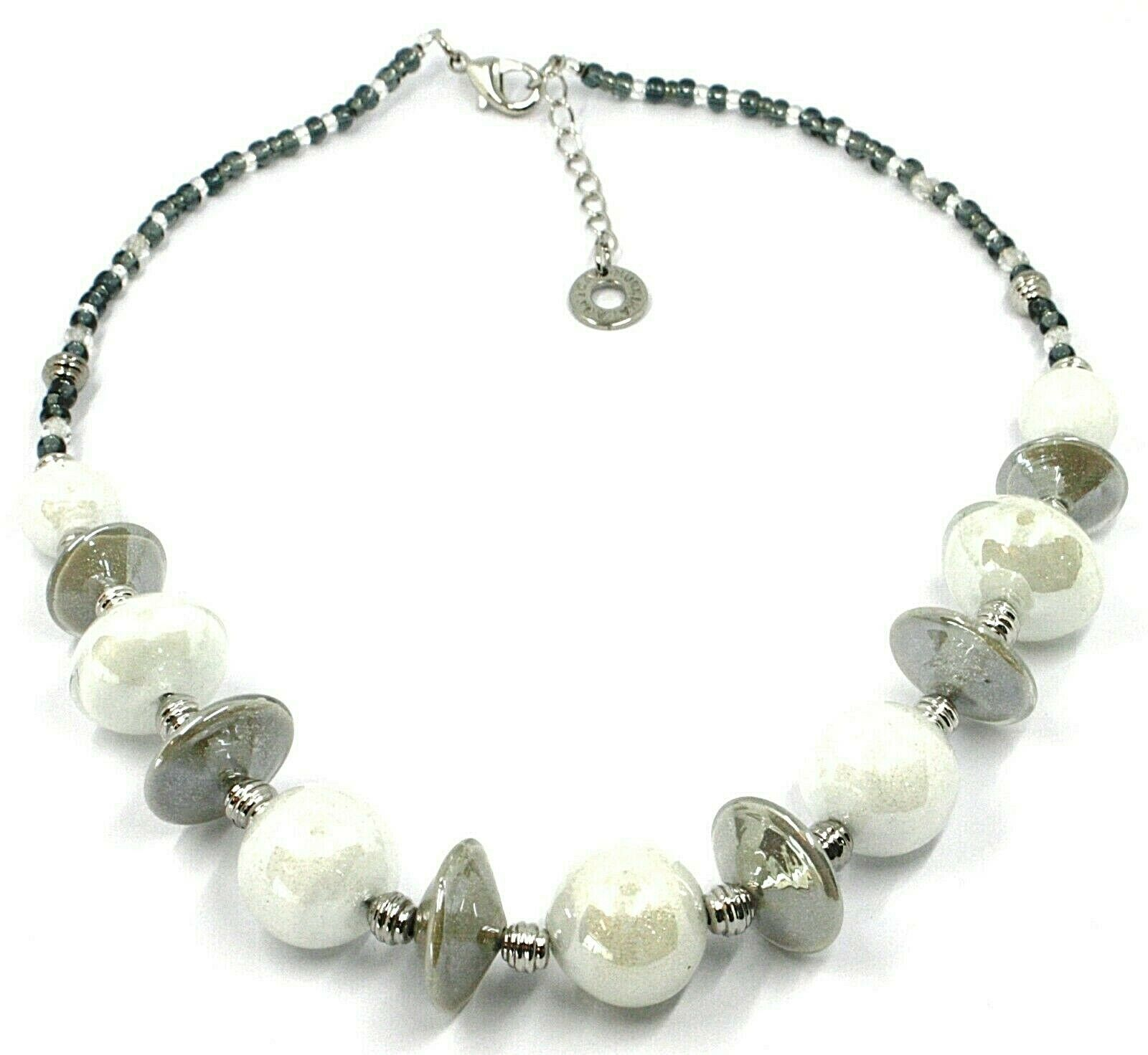 Necklace Antica Murrina Venezia, CO955A02, Discs Ovals Spheres, White, 45 CM