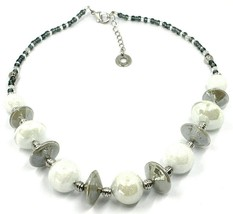 Necklace Antica Murrina Venezia, CO955A02, Discs Ovals Spheres, White, 45 CM image 1