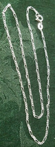 """16"""" 3+1 Figaro Sterling Silver Necklace 3.44 Grams Width: 1.8 Mm image 2"""