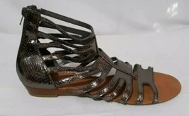 Nine West Gladiator Sandals SZ 10 Silver Metallic Flat Heel Strappy Zip... - $12.82