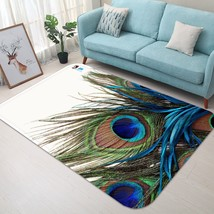 3D Peacock Feather 004 Non Slip Rug Mat Quality Elegant Photo Carpet US Carly - $93.49+