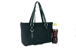 Auth Gucci GG Black Canvas & Leather Shoulder Bag Tote Hand Bag Purse It... - $335.61