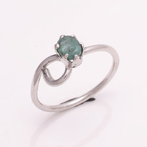 NATURAL EMERALD 5*4 MM OVAL 925 STERLING SILVER 6 US RING TA1112704 - £14.22 GBP