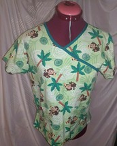 Dickies Womens Green Scrubs Top Monkey SIZE SMALL  - $14.84