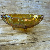 """Vintage Footed Amber Carnival Glass Bowl Oval 12"""" x 8"""" - $14.99"""