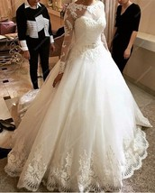 White Sheer Long Sleeve Ball Gown Wedding Dress With Lace Embellished - $285.00