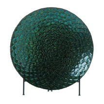 Peacock Feather Inspired Decorative Plate or Bowl in Metallic Greens and... - $45.49