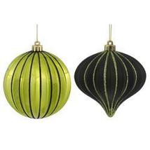 9ct Lime Green & Black Glitter Striped Shatterproof Christmas Onion And ... - ₨3,327.81 INR