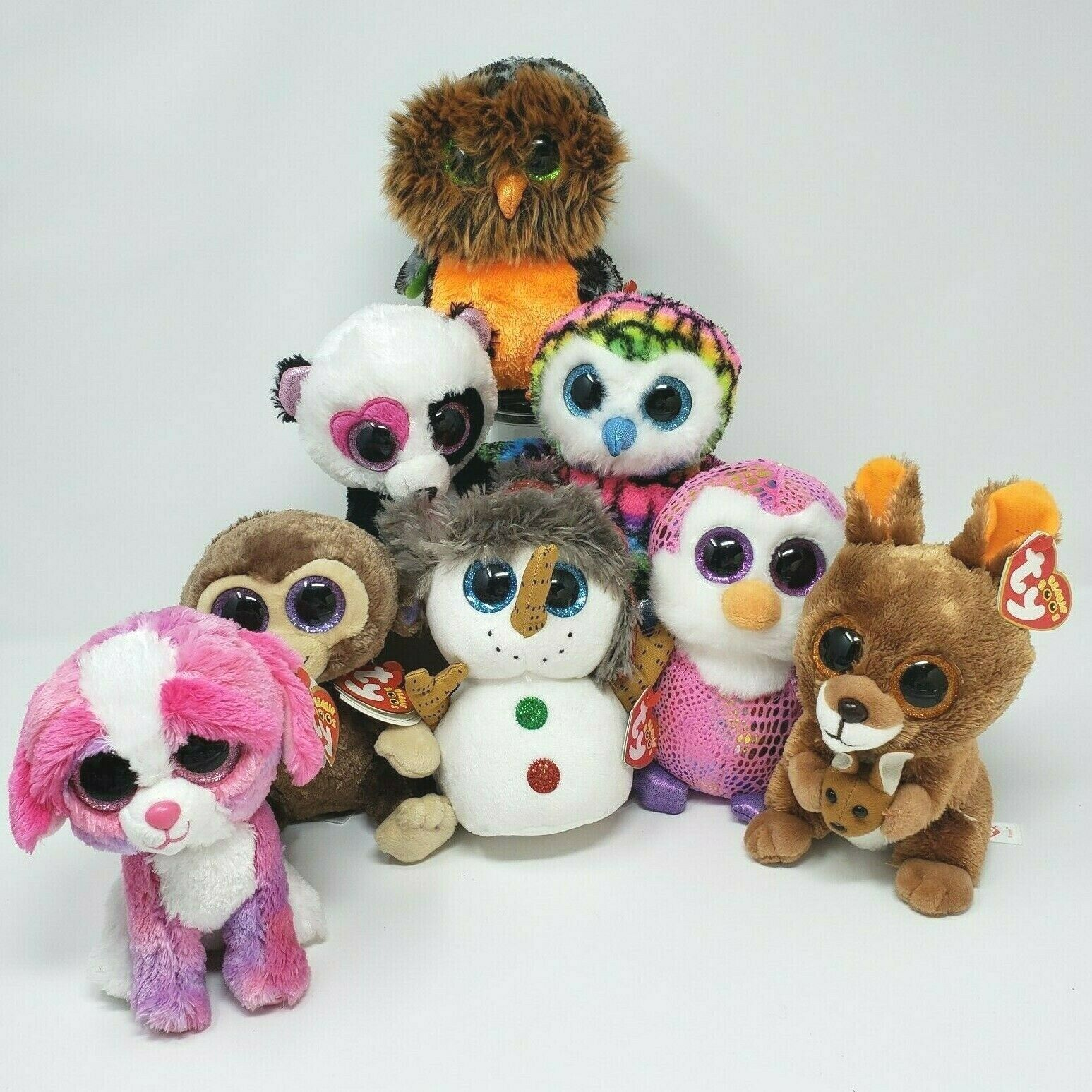 Primary image for LOT 8 TY BEANIE BOOS OWL SHERBET COCONUT BUTTONS KIPPER STUFFED ANIMAL PLUSH TOY