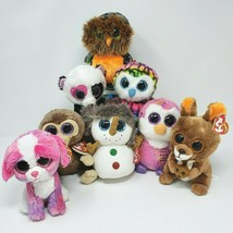 LOT 8 TY BEANIE BOOS OWL SHERBET COCONUT BUTTONS KIPPER STUFFED ANIMAL P... - $55.17