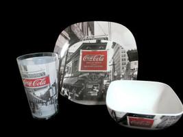 Coca-Cola Melacore 4-piece Place Setting Coke Noir Black White Plate Bow... - $8.91