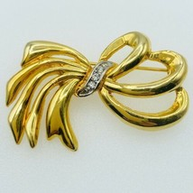 Swarovski Bow Ribbons Pin Brooch Gold Tone Embellished with Crystals  - $43.54