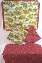Set/4 Pillow cover/shams vintage 1990s cowboy bucking bronco bandana ret... - $35.27