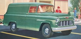 Vtg Chevrolet Color Paper Ad 1955 Half Ton Panel Truck Task Force Model 3105 B8 - $11.25