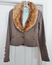 GUESS Womens Jacket Coat Western Detachable Faux Fur Collar Brown Plaid ... - $59.35