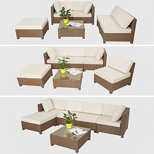 Multiform Garden Sofa Set Polyrattan Patio Balcony Furniture Cushioned Brown image 3