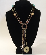 Drop Necklace Cookie Lee Pendant Crystal Rhinestones Leather Metal Chains Beaded - £27.55 GBP