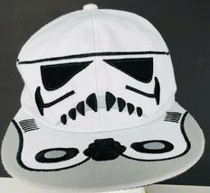 Disney Star Wars Storm Trooper Truckers Hat Flat Bill White Adjustable Cap - $24.74