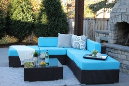 6 Piece Brown Wicker Outdoor Patio Sectional Set Ashland New - £749.85 GBP