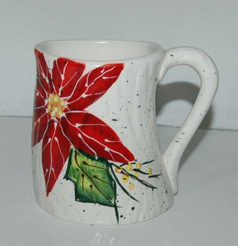 Bella Casa Ganz BC14545 White Mug Red Poinsettia Ceramic