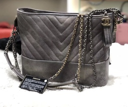NEW AUTH Chanel 2019 LIMITED GRADIENT GRAY CAVIAR CHEVRON MEDIUM GABRIELLE BAG