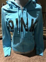 Preowned Victoria's Secret PINK Womens Turquoise Full Zip Hoodie Sz L - $9.50