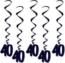 Number 40 Whirls (5pc Pkg) Black Birthday Or Anniversary Decoration - $7.91
