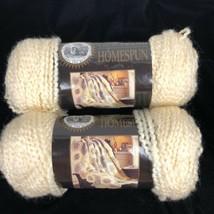 2 Skeins Lion Brand Homespun Yarn Deco Cream Color Bulky Boucle Acrylic 6 OZ EA - $11.73