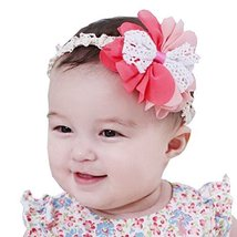 Set of 3 Beautiful Baby Girl Headband Cute Flower Toddler Accessory Pink&Red 1Y image 2