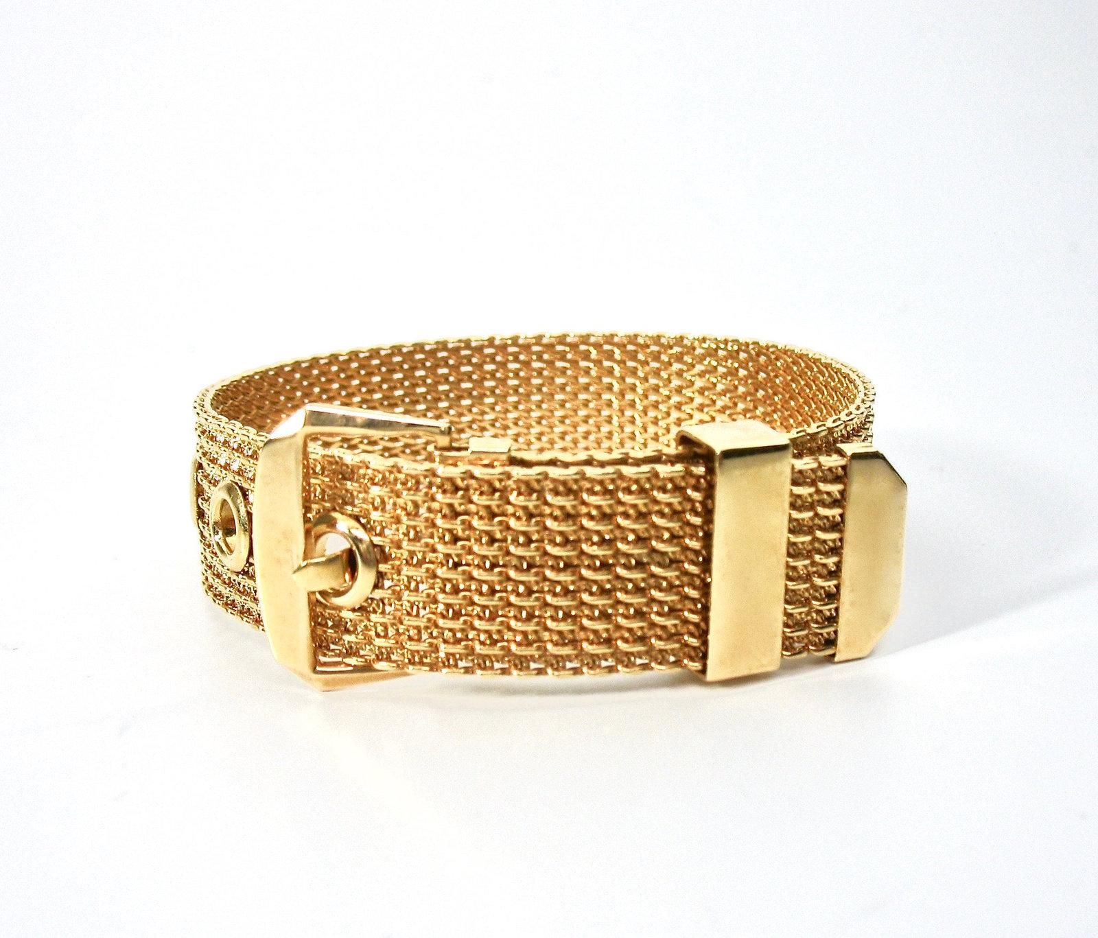 Mesh Buckle Bracelet, Gold Tone, Avon, 1970's, Adjustable, Signed Collectible, D
