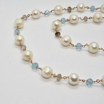 925 Silver Necklace Laminate Rose Gold with Quartz pearls and aquamarines image 10