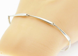 925 Sterling Silver - Vintage Shiny Smooth Bar Link Chain Bracelet - B5932 - $30.02