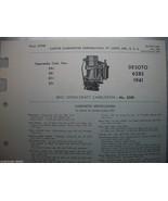 1941 41 DESOTO 628S CARTER CARBURETOR SERVICE PROCEDURES BBR DOWNDRAFT CARB - $5.75