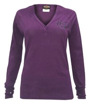 "Harley-Davidson Women's Purple V-neck Henley Shirt ""Instill Life"" Small - $18.39"