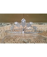 Elegant Cubic Zircon Silver Plated Tiara Style T-038 - $18.28